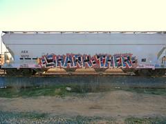 Shark = Ther (KickPushPaint aka Sk8Hamburger) Tags: train painting graffiti shark paint tag dna boxcar piece tagging kts freight ther grainer kmv peninsulaterminal dnak