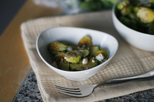 Roasted Brussels Sprouts with Walnut Oil and Gorgonzola