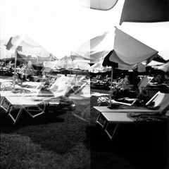 I want summer (ale2000) Tags: summer blackandwhite bw sun white black umbrella mediumformat square relax geotagged blackwhite holga estate chairs warmth sunny bn multipleexposure lazy multiple sole bianco ilford nero laziness biancoenero ilfordpanf panf beachumbrella ombrellone alsole aledigangicom geo:lat=4378217247633174 geo:lon=11102935553407633