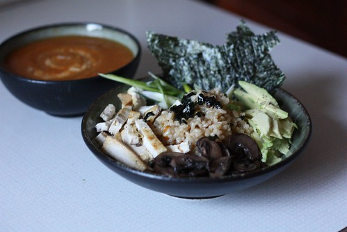Brown Rice Sushi Bowl, Butternut Squash Soup