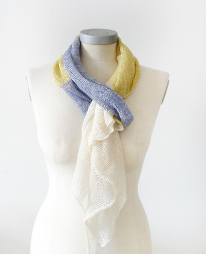 viscose cotton spring scarf -green blue cream