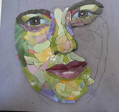 Carol Shelkin Portraiture workshop WIP (Ginny Sher) Tags: portrait color art face person mosaic stainedglass workshop sama carolshelkin