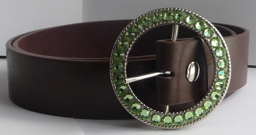 Ladies Silver Belt Buckle (Snap On) Decorated with Peridot Green Swarovski Crystal Rhinestones Handcrafted by Angel Grace