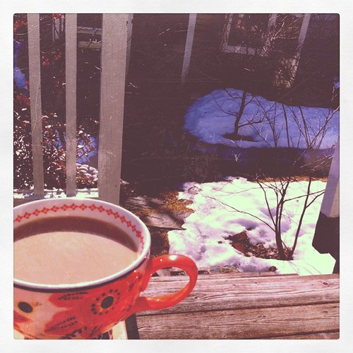 My first cup of coffee out on the deck, this year, serenaded by cardinals.