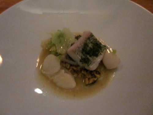 Commis - Oakland - January 2011 - Atlantic Haddock with Smoked Mussel Vinaigrette, Herbs and Cabbage