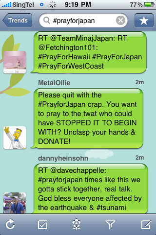 #prayforjapan Twitter screenshot