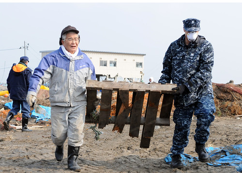 Sailor/New York native helps with cleanup in Misawa.
