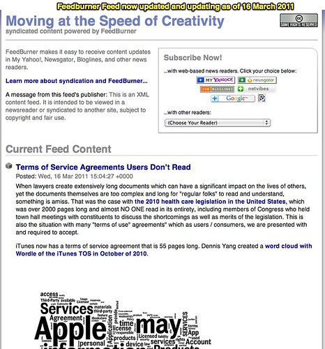 Feedburner Feed now updated and updating as of 16 March 2011
