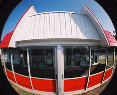 Fisheye recession (kevin dooley) Tags: 2 favorite color film ice shop mi analog wow photography restaurant photo interesting fantastic closed flickr image very good michigan awesome cream picture free award superior pic super best fisheye more most photograph creativecommons drivethru winner excellent much incredible better exciting winning stockphotography newbuffalo phenomenal recession fisheye2 freeforuse fisheyerecession