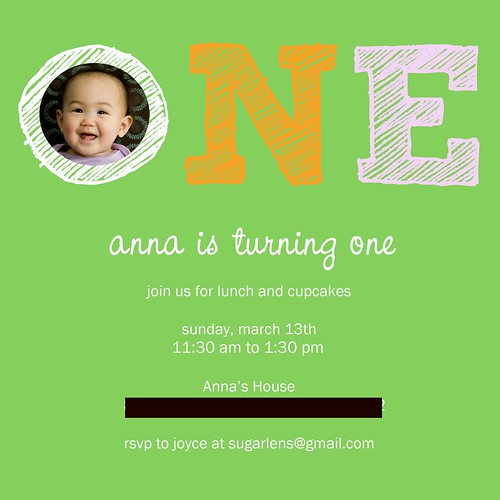 Anna's First Birthday Party Invitation