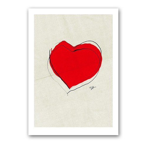 Heart for JAPAN - The Red Cross, Support earthquake disaster relief efforts, print, heartillustration
