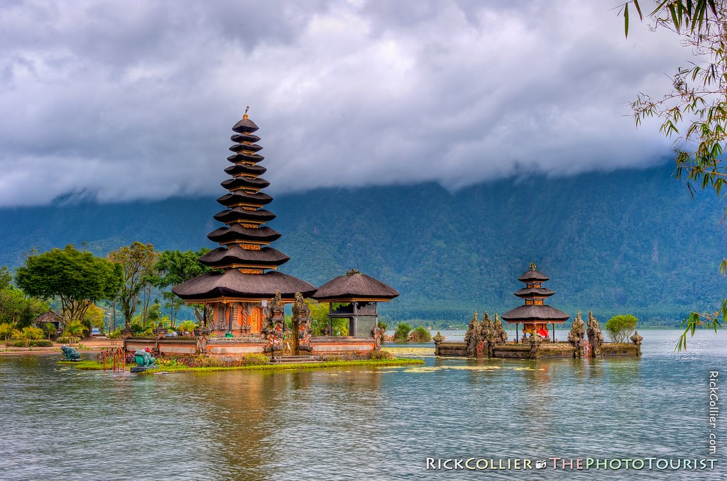 The shrines in Lake Bratan, at the Temple of Ulun Danu at Candikuning, Bali, Indonesia