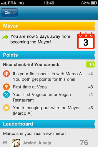 My foursquare record: +14 points for a single checking (without getting a badge) /thanks @marconifep