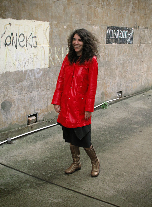 Red Rain Jacket & Brown Boots, Marrickville, Street Fashion Sydney