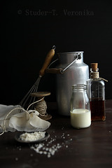 Preparation for making ricotta (StuderV) Tags: food milk nikon salt homemade vinegar ricotta dairy twine foodphotography dairyproduct foodstyling d700 tabletopstyling