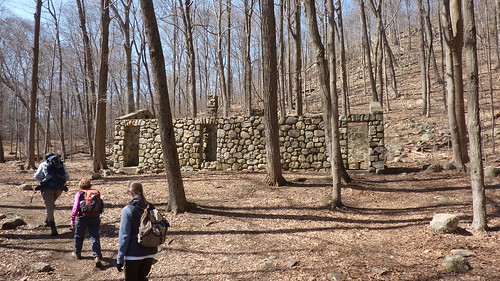 Hikers at ruins on Schuber Trail