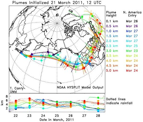 Japan Radiation Plume - March 23rd Fallout