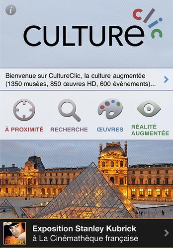 CultureClic 1.4.2 avec mise en avant de l'exposition Stanley Kubrick