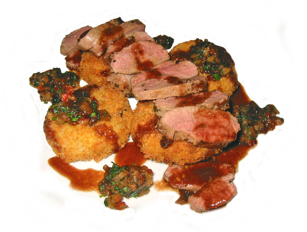 Sauteed Duck Breast With Caramelized Pear Compote, Crispy Crater Lake Cakes & Reduction Sauce