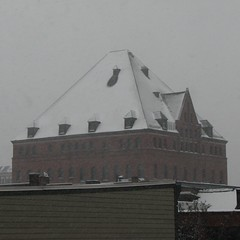 Masonic Temple (1897)  blizzard view (origamidon) Tags: usa brick architecture burlington square vermont pyramid arches slate churchstreet romanesque blizzard sq roofline vt cityview nationalregisterofhistoricplaces 05401 wilsonbrothers nrhp greenmountainstate commercialblock 4story chittendencounty origamidon donshall burlingtonvermontusa cshd churchstreethistoricdistrict brickcommercialblock 07292010 09000915