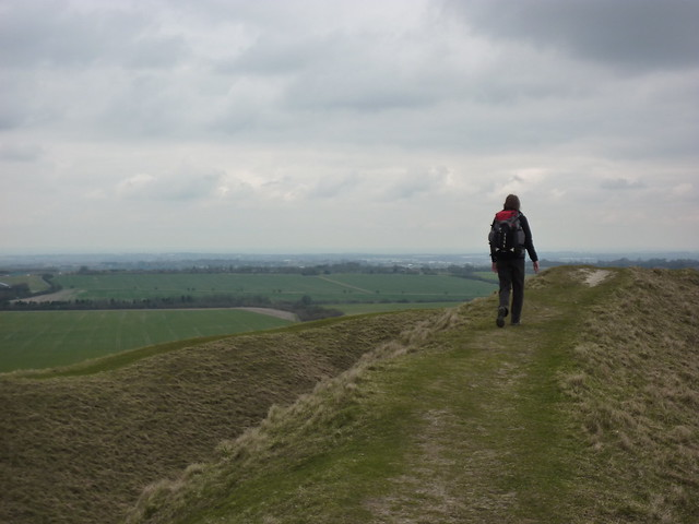 Walking the ramparts of Barbury Castle