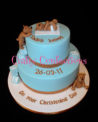 Baby blue and bronze Christening (Crafty Confections) Tags: ireland baby cake bronze teddy cork bears christening blocks midleton bllue craftyconfections