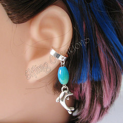 Blue, green and silver cartilage ear cuffs - Dancing Dolphin