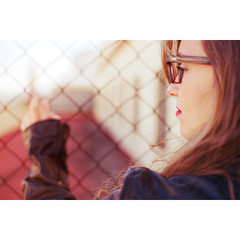 (  m_ramos  ) Tags: red portrait woman black film girl look 35mm 50mm glasses nc sevilla mujer rojo chica hand lashes kodak re