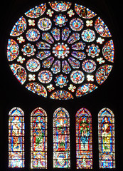 Chartres, South Trancept Rose and Lancet Windows