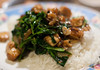 stir fried pea shoots with tofu and dried shrimp