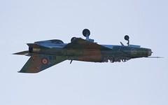 """Inverted MiG-21UM """"Lancer-B"""" - Romanian AF @ LZSL (stecker.rene) Tags: mig21um mig21 lancer lancerb fishbed inverted 9516 cn516953016 romanian airforce romania slovakia nato fighterjet military jet trainer aerialdisplay flyingdisplay sliac siaf16 siaf2016 siaf afb canon eos7d tamron 150600mm aircraft flying flypast"""