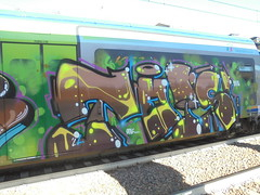 218 (en-ri) Tags: reser tots crew 2016 marrone arrow verde valel train torino graffiti writing