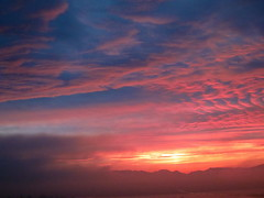 Flaming (jchants) Tags: pink blue red sky mountains fog clouds sunrise dawn earlymorning interestingness161 explore26january2011