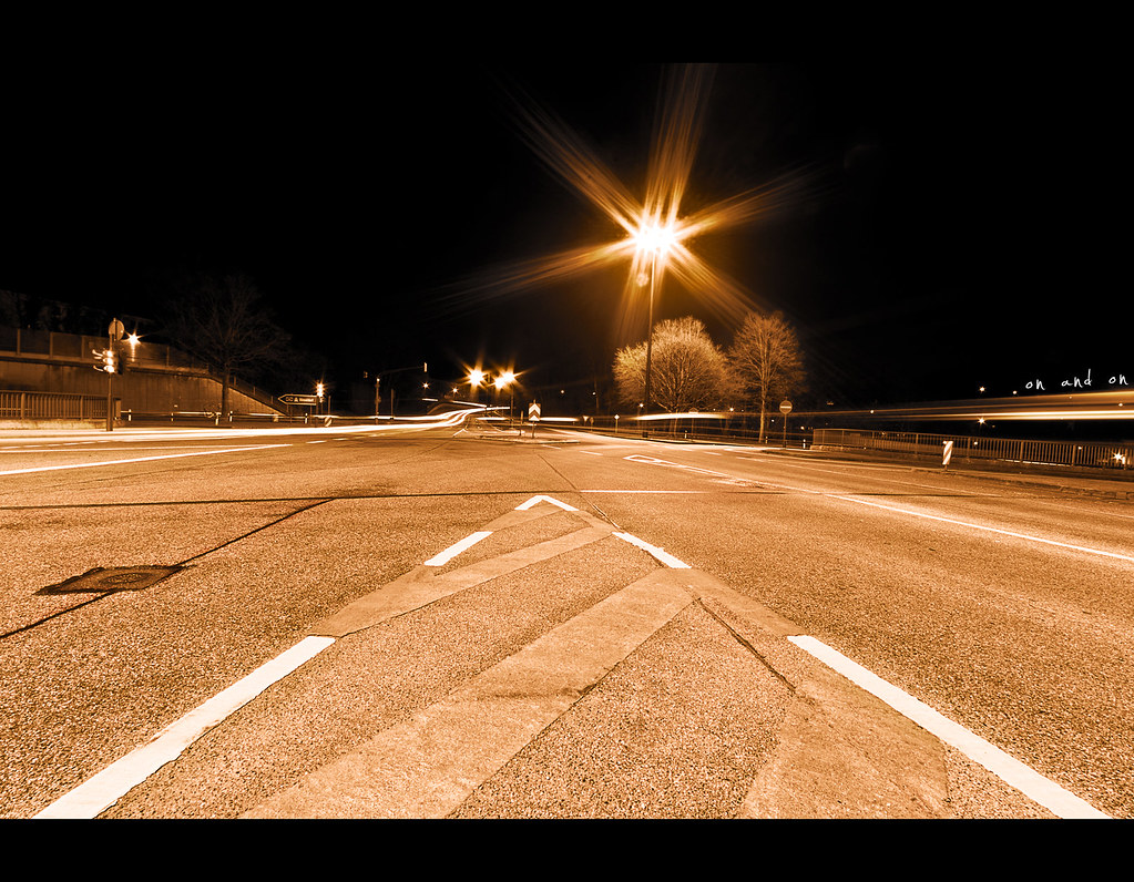 Day 174, 174/365, Project 365, on and on, street, night, streetlights, lights, stars, aperture stars, lines, ourdailychallenge, odc, lighttrails, trails, wide angle, canon ef-s 10-22,