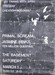 "Primal Scream & Jasmine Minks poster Brighton March 1984 <a style=""margin-left:10px; font-size:0.8em;"" href=""http://www.flickr.com/photos/58583419@N08/5400623667/"" target=""_blank"">@flickr</a>"