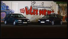 Golf III et IV (Eric-photo-automobile) Tags: blue 3 green vw night golf volkswagen lumix photo automobile eric shot iii side 4 wheels vert panasonic bleu marker shooting audi iv fz mk 38