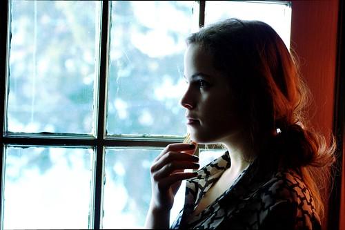 フリー写真素材, 人物, 女性, 横顔, 窓辺,