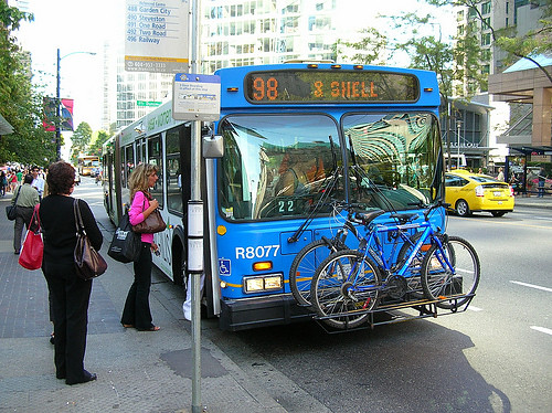 a bike carried on a bus in Vancouver