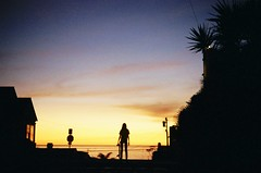 (Tommy Petroni) Tags: world blue trees sunset orange beach colors silhouette clouds manhattan chloe end skateboard