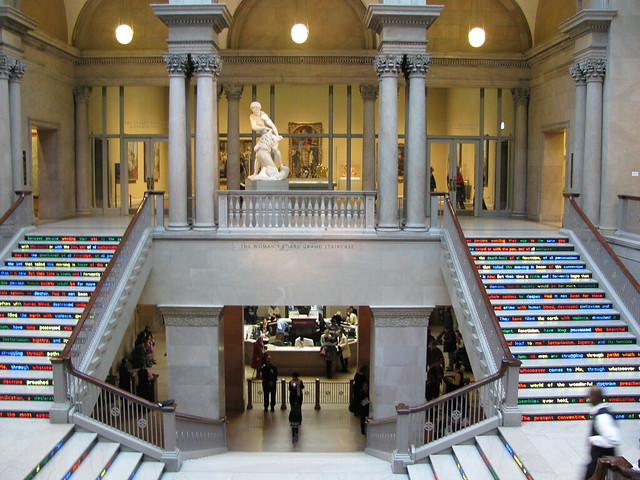 "The Grand Staircase at the Art Institute of Chicago with the art installation ""Public Notice 3"" by Jitish Kallat"