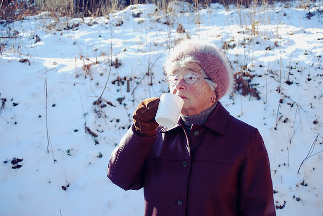 grandma drinking coffee
