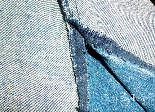 bootcut to skinny jean makeover upcycled outside trimmed
