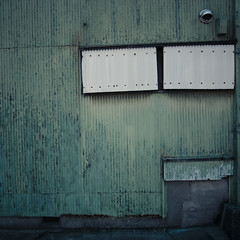 Shy Blue Corrugated Wall (jacob schere [in the 03 strategically planning]) Tags: blue house window japan wall square vent tokyo decay jacob side shy communication cover covered worn bolt siding lucid corrugated bolted kasai sided schere vented grii jacobschere lucidcommunication