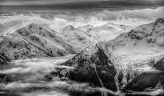 Mountainous Clouds (Evan Gearing (Evan's Expo)) Tags: blackandwhite bw cloud mountain snow canada cold whistler nikon bc britishcolumbia peak valley 18200 hdr blackcomb d300s evangearingphotography evansexpo