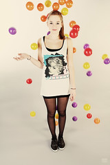 Coloured Balls (Adam Haranghy) Tags: portrait woman color colour adam girl beautiful beauty fashion canon studio eos flying teeth young balls portrt blond blonde shooting blitz coloured franzi fotoshooting blle bunte strobist 60d haranghy