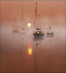 Dawn Silence (adrians_art) Tags: mist water fog sunrise reflections boats dawn early sailing transport lakedistrict craft cumbria yachts masts bouys moorings moored pooleybridge lakeullswater