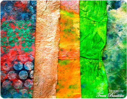 a collection of dyed paper towels