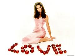 Jennifer Love Hewitt (britishtea2075) Tags: pink woman sexy love apple fruit glow dress small young teen american short actress glowing brunette jenniferlovehewitt height petite