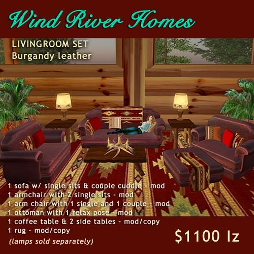 Rustic Livingroom Set - Burgundy Leather