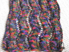 Lace Ribbon scarf closeup (GenkiAndChips) Tags: scarf knitting knitty 2011 veronikavery laceribbonscarf